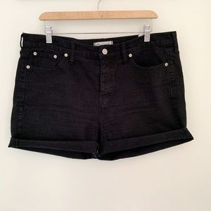 Madewell High Rise Black Cuffed Jean Shorts